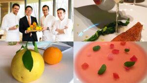 三ツ星フレンチのシェフ達と原さん、原さんの柑橘を使った料理